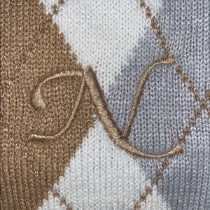 """Land's End embroidered scarf - """"N"""" initial"""